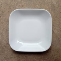 10-Inch Square Plate white stonware